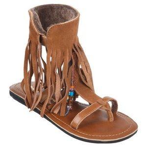 Koolaburra Venus Fringe Sandals in Chestnut